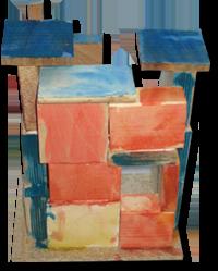 Holzhaus-blau-rot